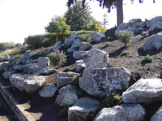 Close up of boulders and bank