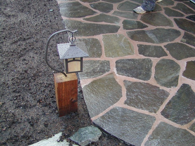 Flagstone patio & light detail