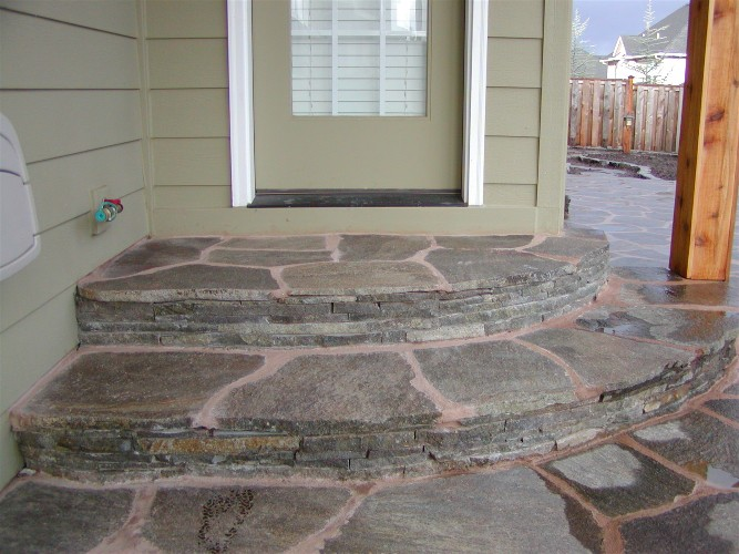 Mortared flagsone steps (after)