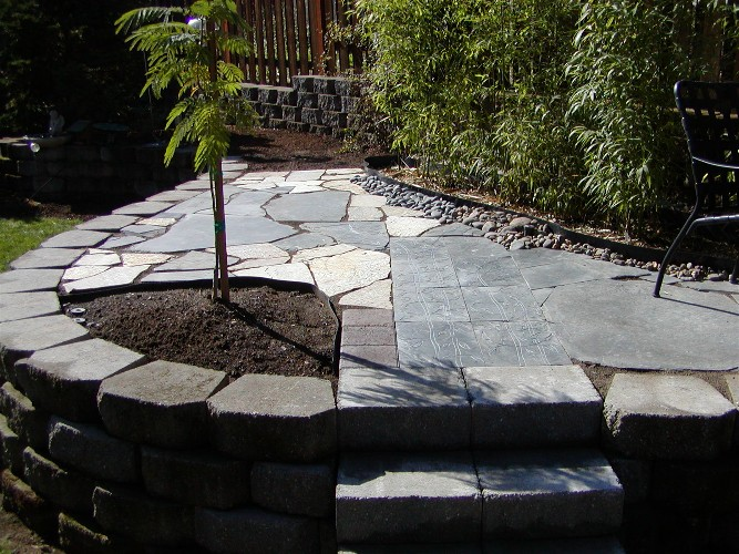 Recycled flagstone, slate, & brick patio