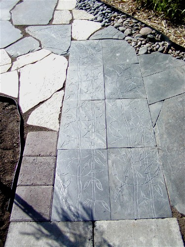 Etched bamboo in black slate